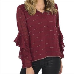 Michael Stars Beaded Burgundy Blouse Top Large NWT